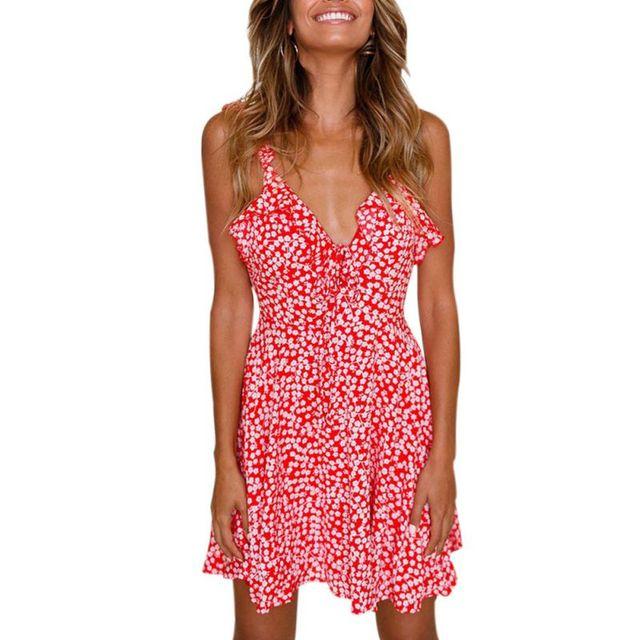 719b1d90d330 Fashion Floral Print Ruffles Deep V Neck Dress Women Beach Spaghetti Strap  Dress Sleeveless Sexy Summer Backless Mini Dress