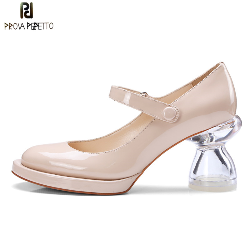 Prova Perfetto Sweet Pink Crystal Heel Shoes Woman Real Leather Round Toe High Heels Pumps Ladies