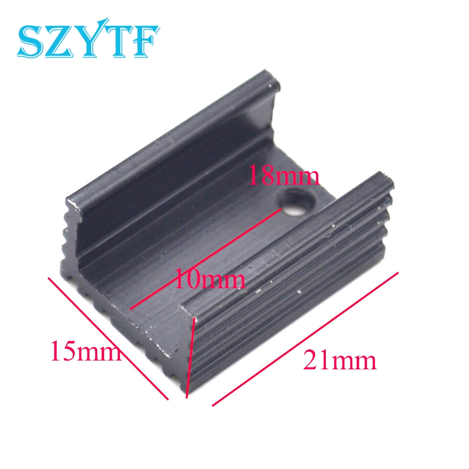 30pcs To-220 Aluminum Heat Sink Triode Radiator Scr Heat Sink 21*15*10mm Black U-type