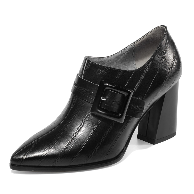 Luxury brand full leather deep mouth womens single shoes European and American fashion thick with belt buckle high heels womenLuxury brand full leather deep mouth womens single shoes European and American fashion thick with belt buckle high heels women