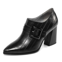 Luxury brand full leather deep mouth womens single shoes European and American fashion thick with belt buckle high heels women