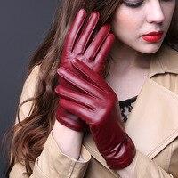 Europe Women Winter Fashion Brief Plus Velvet Thick Warm 100% Genuine Leather Red Gloves Ladies Fleece Black Mittens Wholesale