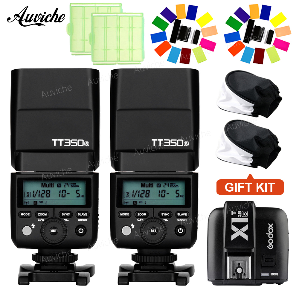 Godox TT350S TTL HSS Flash Speedlite 1/8000s GN36 with X1T-S Wireless Trigger Transmitter for SONY camera wireless remote 2 4g ttl 1 8000s hss flash trigger transceiver transmitter pixel king pro for sony a7 mi shoe vs godox x1t s x4
