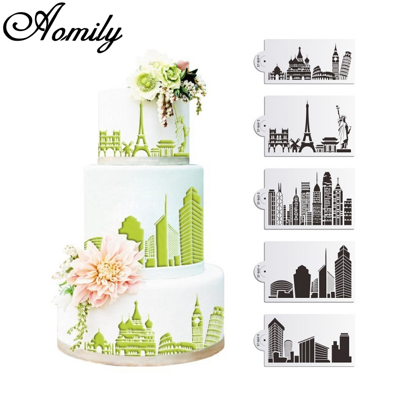 Aomily 5PCS/Set Buildings Cake Stencils Cookies Mousse MoldCoffee Cappuccino Template Baking Sugarcraft Cake Decorating Tools image