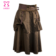 Brown Satin Steampunk Skirt With Belted Waistband and Two Layers Women Skirts Gothic Clothing faldas midi jupe femme saia lapis