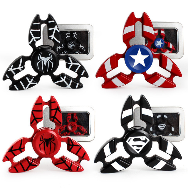 4 colors captain america spiderman hand superman fidget spinner edc