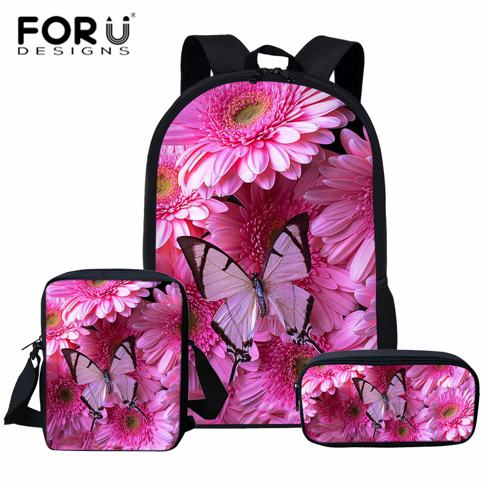 FORUDESIGNS 3Pcs/Set Pretty Butterfly School Bag Sets Schoolbag For Teenager Girls Children School Bookbag Kindergarten Backpack