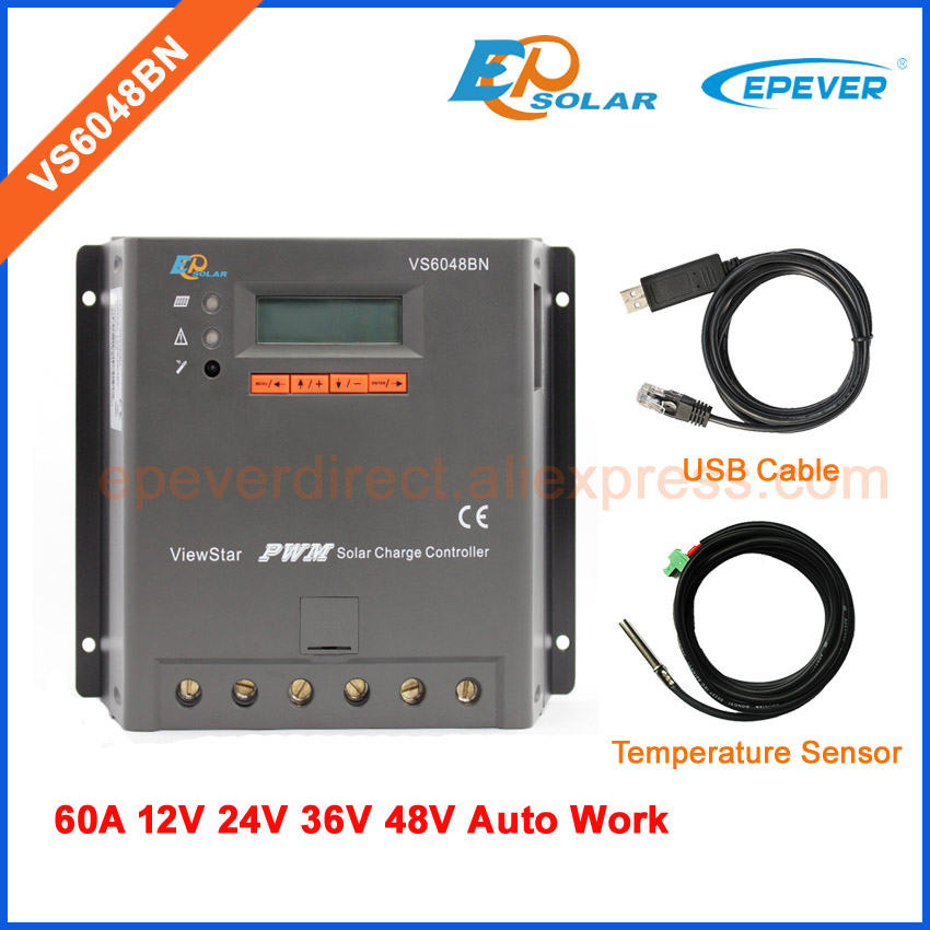 Charger regulator PWM EPEVER Solar panels system 12V/24V/36V/48V work VS6048BN 60A 60amps lcd display Temp sensor&USB cable vs6048au 48v battery charger work solar 60a controller pwm viewstar series 36v 24v auto work epever epsolar lcd display 60amps