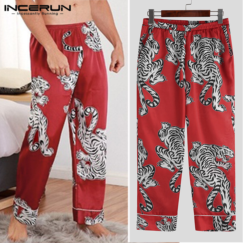 Silk Satin Soft Men Sleep Pants Printing Pajamas Comfy 2019 Sleepwear Men Lounge Pants Sleep Bottoms Hombre Plus Size INCERUN