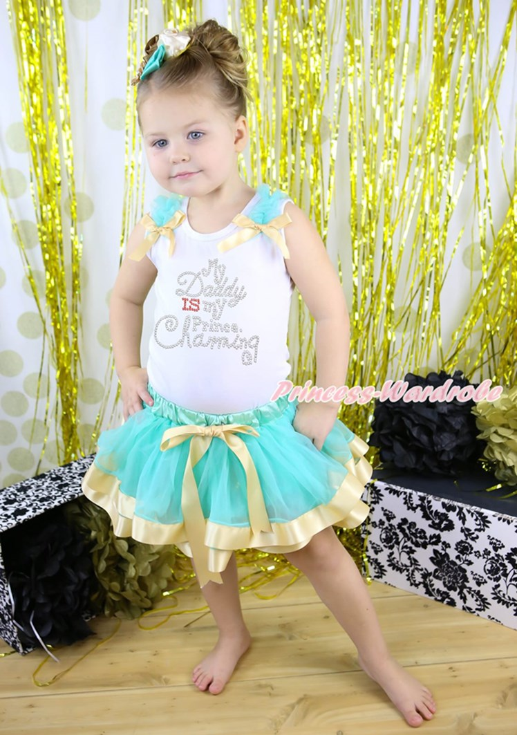 ФОТО My Daddy IS My Prince Charming White Top Blue Gold Satin Trim Girls Skirt NB-8Y