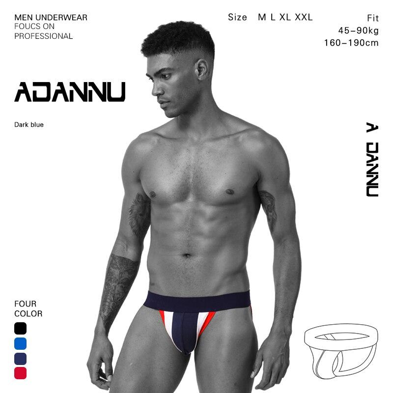 ADANNU Low Rise Men Sexy Gay New Sexy Underwear Transparent Jockstrap Mens Thong Cotton Breathable Thong Men Jockstrap
