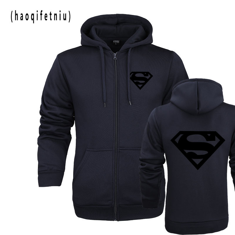 2018hoodies New Superman Hoodie Batman Zipper Hooded Men Casual Cotton Fall / Winter Warm Sweatshirts Men's Casual Tracksuit Cos