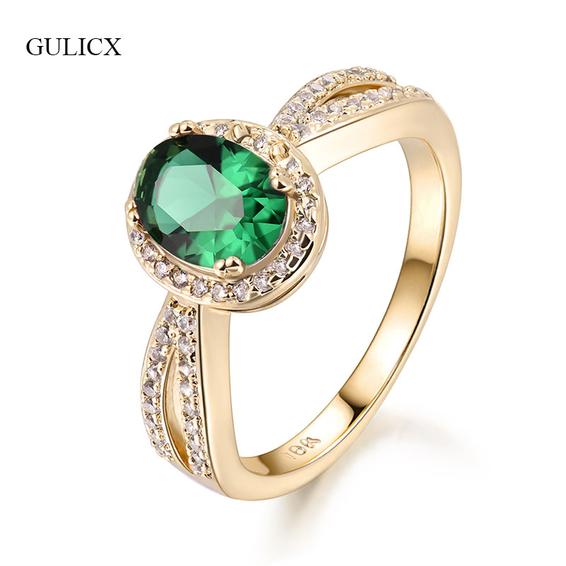 GULICX AAA Zircon Engagement Rings for women gold color Wedding rings female anel Austrian Crystals Party Gifts Jewelry GLR340
