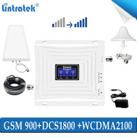 lintratek Tri band 2g 3g 4g repeater gsm 900 1800 2100 cellular signal network booster 900mhz wcdam 2100mhz dsc lte amplifier