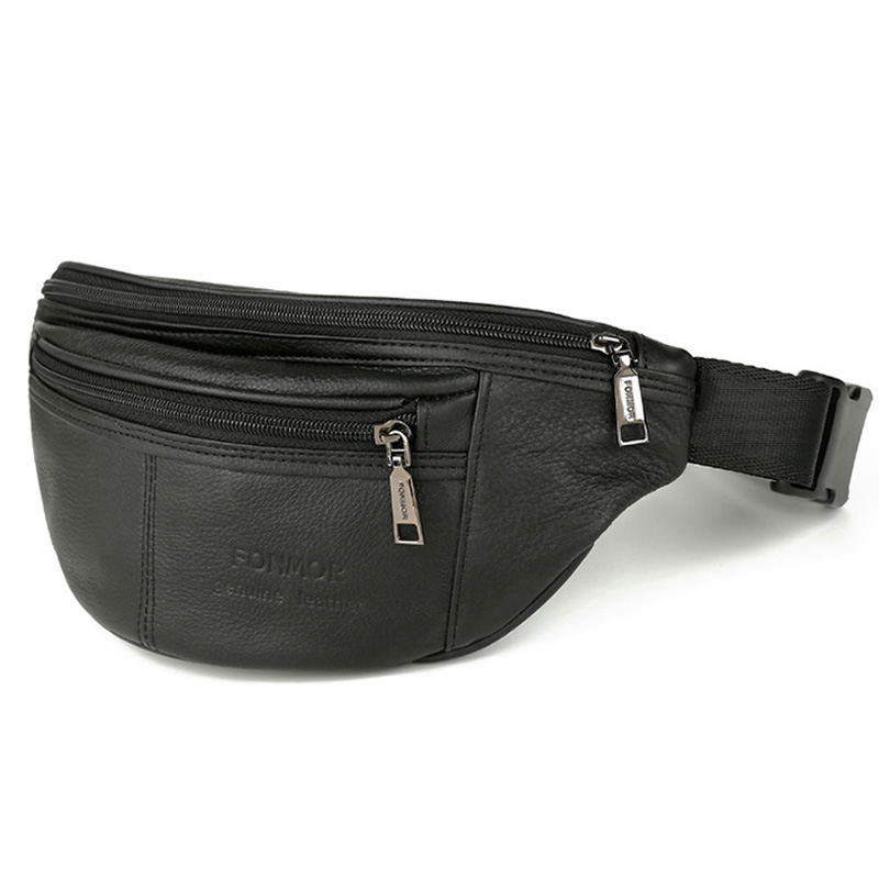 Genuine Leather Men Waist Pack Fanny Pack Belt Bag Cowhide Phone Pouch Bags Brand Nature Leather Male Small Travel Waist Bag