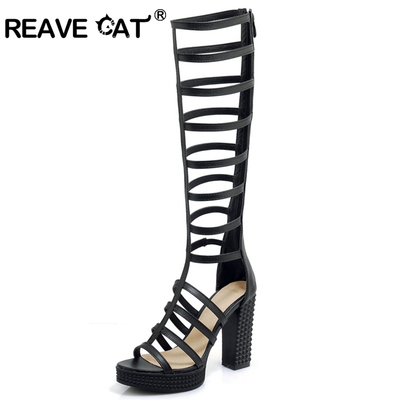 REAVE CAT Women Ladies Gladiator Platform Summer boots chunky high heels Sexy Striper party high heel