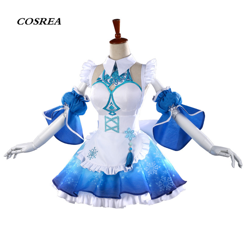 COSREA Hot Game Arena Of Valor Cosplay Costume Wang Zhao jun Blue Fancy Apron Dress Costumes Halloween Party For Adult Woman