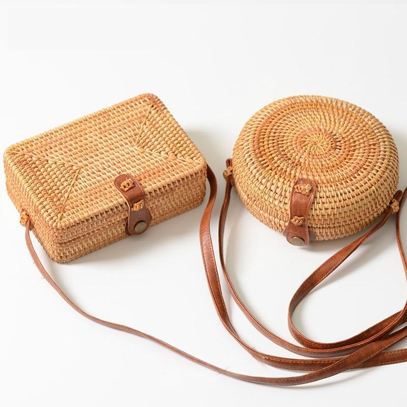 Summer Round Straw Bags Small Women Rattan Bag Handmade Woven Beach Women's Crossbody Bags Bohemia Circle Handbag Bali Box Bolsa