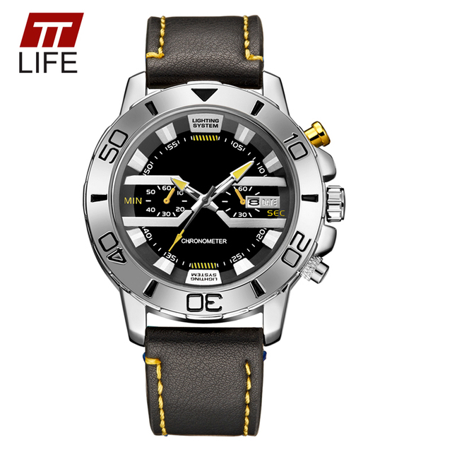 TTLIFE Brand New Fashion Sports Military Leather Watches Japan Movement Watch Day Date Clock Men Waterproof Analog Wrist Watches