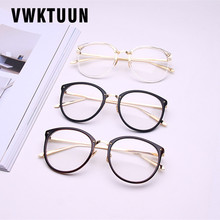 VWKTUUN Vintage Women Glasses Frame Mens Gold Metal Eyeglasses Retro Big Clear Lens Optical Spectacle New