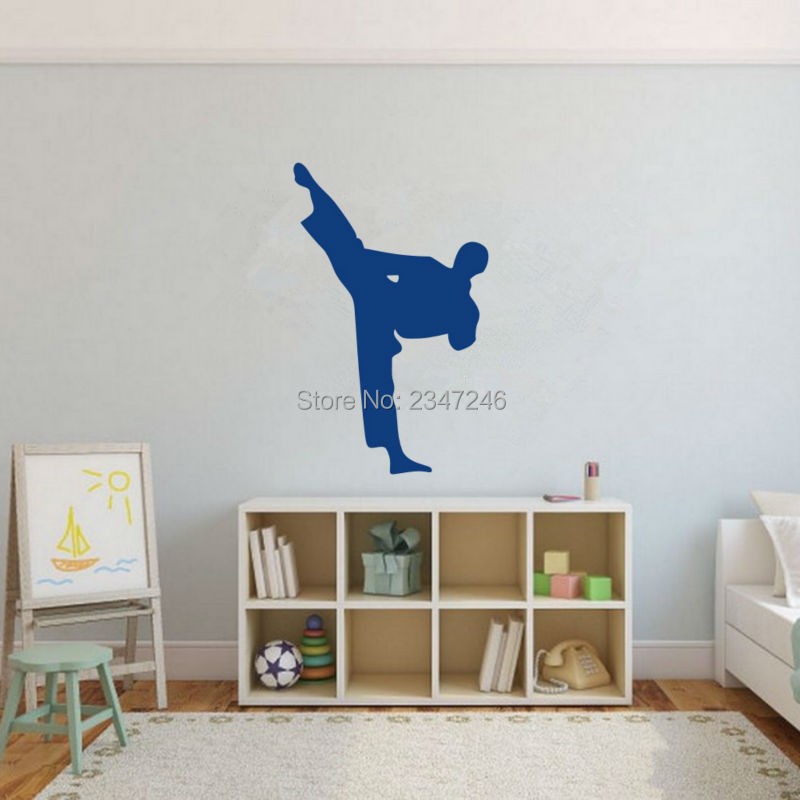 Karate Punch Pose Wall Decal Martial Arts Vinyl Sticker for Boys Room Decoration