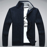 Icpans 스웨터 남자 2019 양모 코 튼 남자 스웨터 겨울 가을 지퍼 kint 착용 남성 카디 건 스웨터 코트 화이트 크기 xxxl