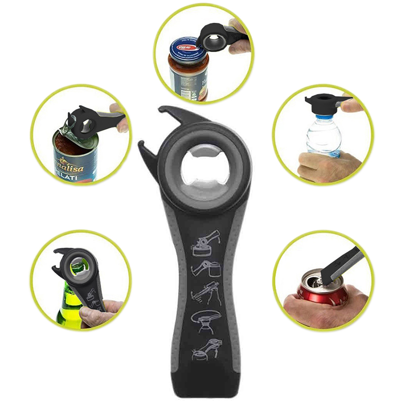5 In 1 Creative Bottle Opener Key Chain Multi Functional Stainless Steel Gifts Kitchen Tool Jar Wine Can Beer Opener Gadget 2018