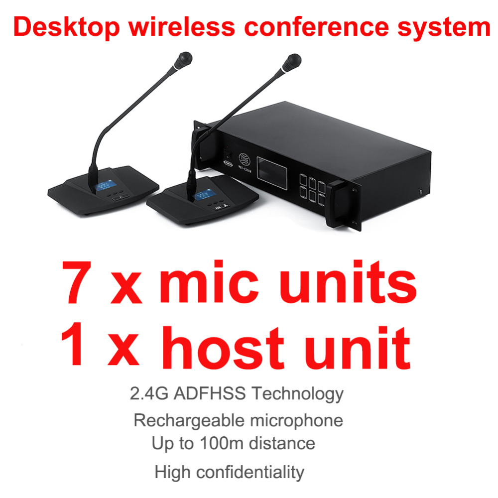 professional 2.4G Digital Wireless table conference microphone system consists of 1 host unit, 7 chairman and delegate units delegate