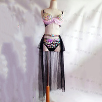 Diy new Sexy Women Stage Costume For Singers Female Singer Dj Ds Gold Mirror Chain Tassel Sleeveless Jacket Clothes Dance Wear