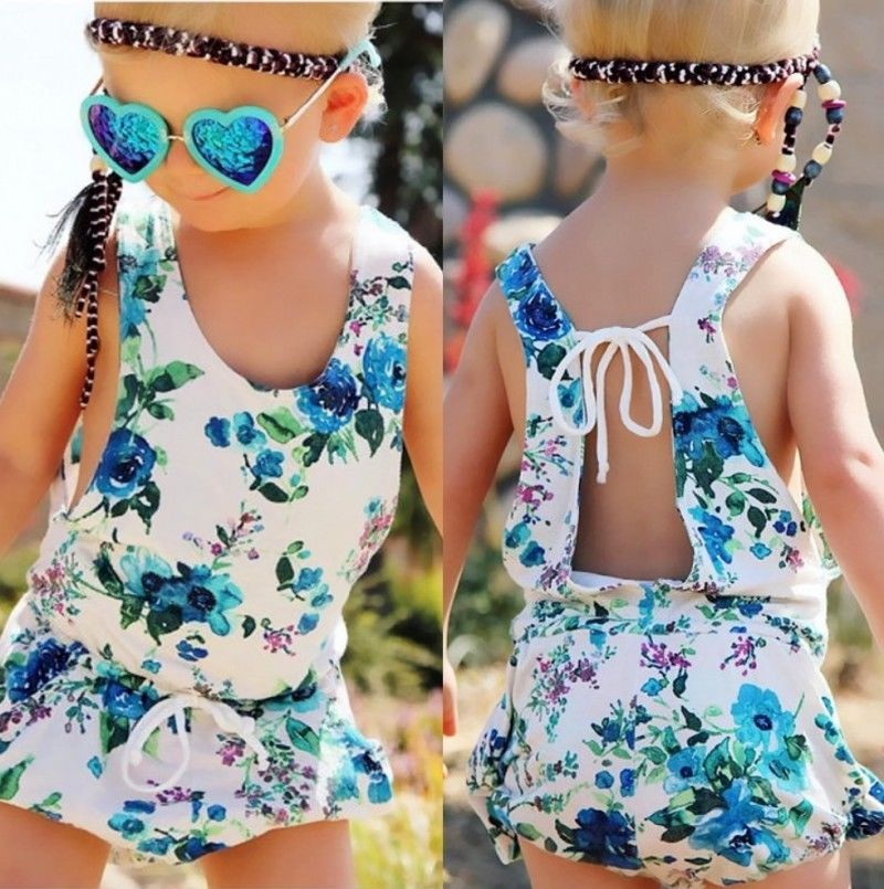 Newborn Toddler Baby Girls Clothes Summer Sleeveless White Floral Cotton Backless Romper Jumpsuit One-pieces Clothes 0-4Y