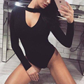 New Spring Women Clothes Long Sleeve Deep V Bodysuit Sexy Slim Fit Solid Color Overalls Romper Women bodycon Jumpsuit