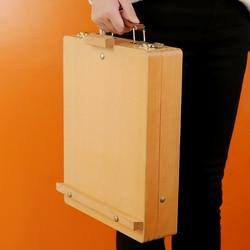 Caja de pintura al óleo de madera roja esmaltada portátil de escritorio easel de madera plegable acuarela caballete multi-propósito caja de pintura arte supplie