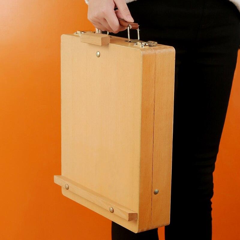 Desktop Portable Red Enamel Wooden Oil Painting Box Easel Wooden Folding Watercolor Easel Multi-purpose Painting Box Art Supplie