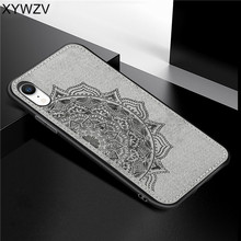 For Apple Iphone XR Shockproof Soft TPU Silicone Cloth Texture Hard PC Phone Case Cover