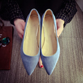 new 2017 spring OL Europe and the United States women's shoes pointed suede sexy shallow mouth flat shoes fashion nude shoes