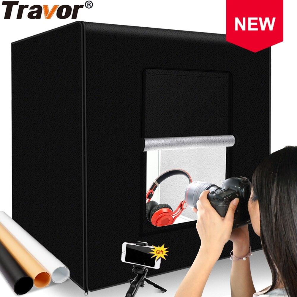 Travor fotografia lightbox 60cm 24 polegadas photo studio 48 w 15000lm cri95 luces led softbox com papel de fundo de 3 cores