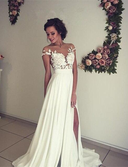 2016 Court Train Beach Chiffon Lace See Through Back Wedding Dress With Slit Leg Robe De Mariage