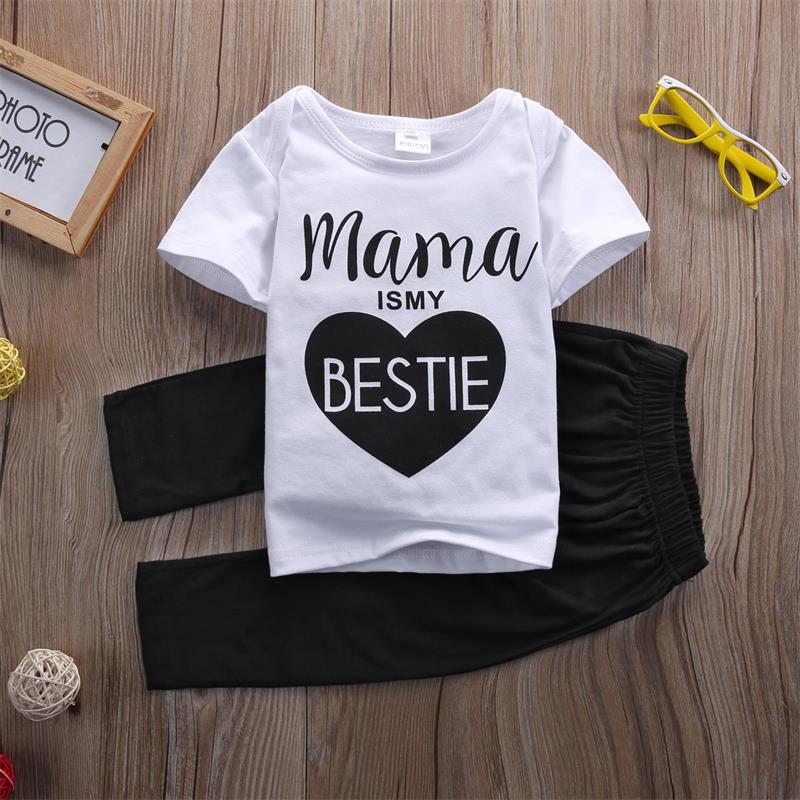 Newborn Baby Boys Girls Mama Bestie Summer outfits Kids Casual Cotton letter T-shirt Tops Long Pants Outfit Clothes Set 0-24M 2016 love kids baby boys summer sleeveless t shirt cotton tops clothes