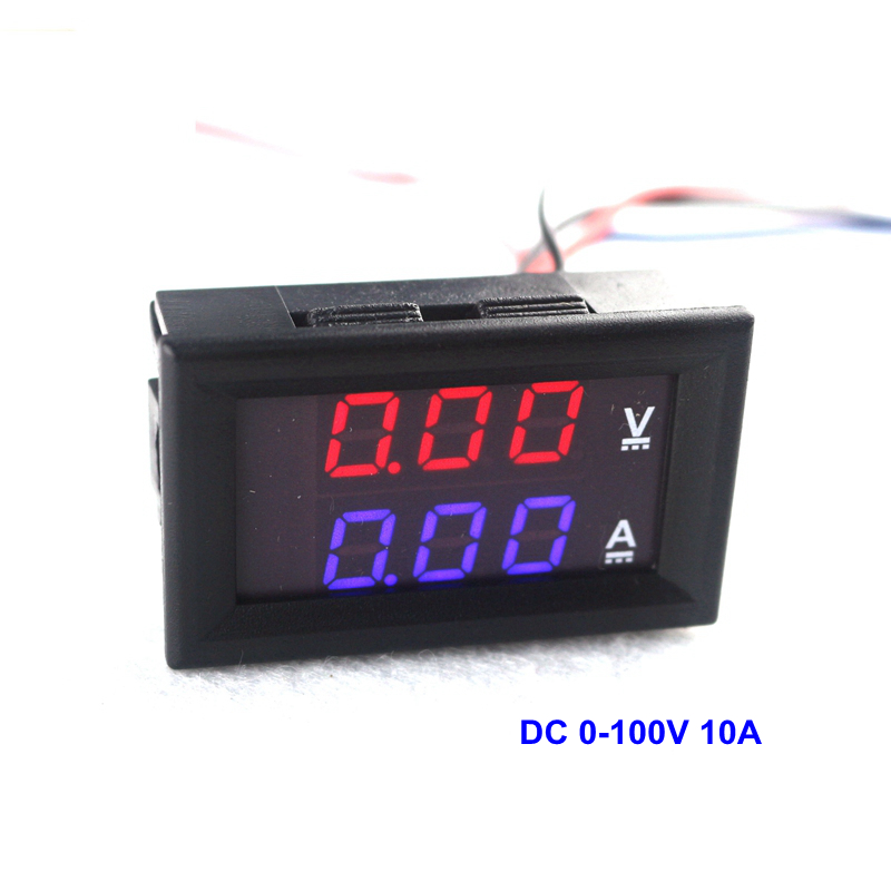 DC 0-100V 10A Digital Voltmeter Ammeter Dual Display 10A Voltage Detector Current Meter Panel Amp Volt Gauge 0.28 Red Blue LED dc 0 100v 1000a voltage meter current gauge digital voltmeter ammeter amp volt panel meter