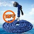 Azul expansível Car jardim mangueira tubo de Spray de plástico Gun feitos de látex duráveis flexível e fácil de manusear e loja de armazenamento