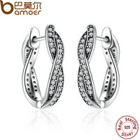 BAMOER Authentic 925 Sterling Silver Twist Of Fate Stud Earrings Clear CZ For Women Wedding Fashion
