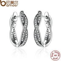 BAMOER Authentic 925 Sterling Silver Twist Of Fate Stud Earrings Clear CZ For Women Wedding Fashion