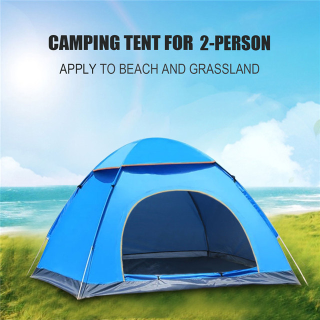 SGODDE Outdoor Portable Waterproof Hiking Camping Tent Anti-UV 2 Person Ultralight Folding Tent Pop Up Automatic Open Sun Shade 2