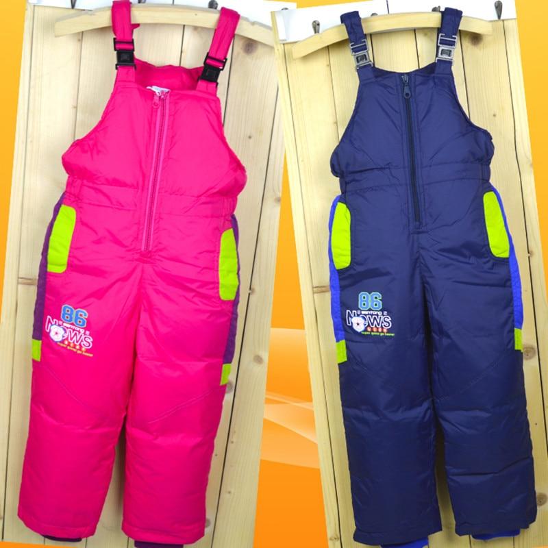 Winter Children's Ski Byxor Down Boys and Girls Hög midja Byxor - Barnkläder - Foto 2