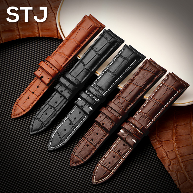 STJ Brand Calf Genuine Leather Black Watch Band Strap for Watchband size 18mm 19mm 20mm 21mm 22mm 24mm Watch wristband Bracelet eache 20mm 22mm 24mm 26mm genuine leather watch band crazy horse leather strap for p watch hand made with black buckles