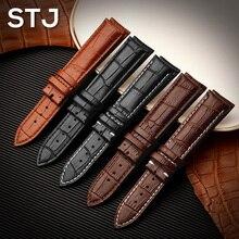 STJ бренд телячьей пояса из натуральной кожи черный ремень для часов Ремешок для часов Размеры 18 мм 19 20 21 22 24 Часы Браслет