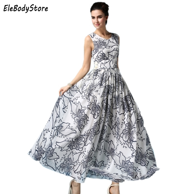 f688adef9e2 Women Summer Casual Long Maxi Dress Plus Size Sexy Club Woman 2018 Elegant  Fashion Floral Print Dresses S-3XL