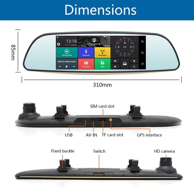 Junsun Android 3G Car DVR Mirror FHD 1080P Auto Dash Cam GPS Navigator Video Recorder Registrar Rear View Camera Remote Monitor
