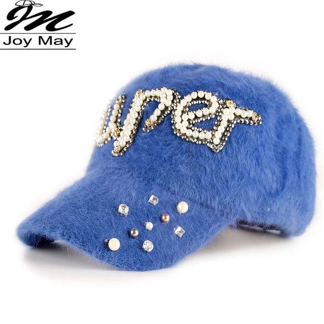 2015 New fashion winter cap diamante Rhinestone warm fur cap Leisure Fake hair baseball cap for women lady girl  W209