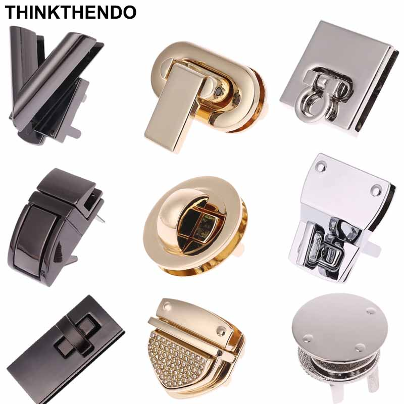 Metal Lock Round Rectangle Bag Case Buckle Clasp For Handbags Shoulder Bags Purse Tote Accessories DIY Craft With diamond(China)